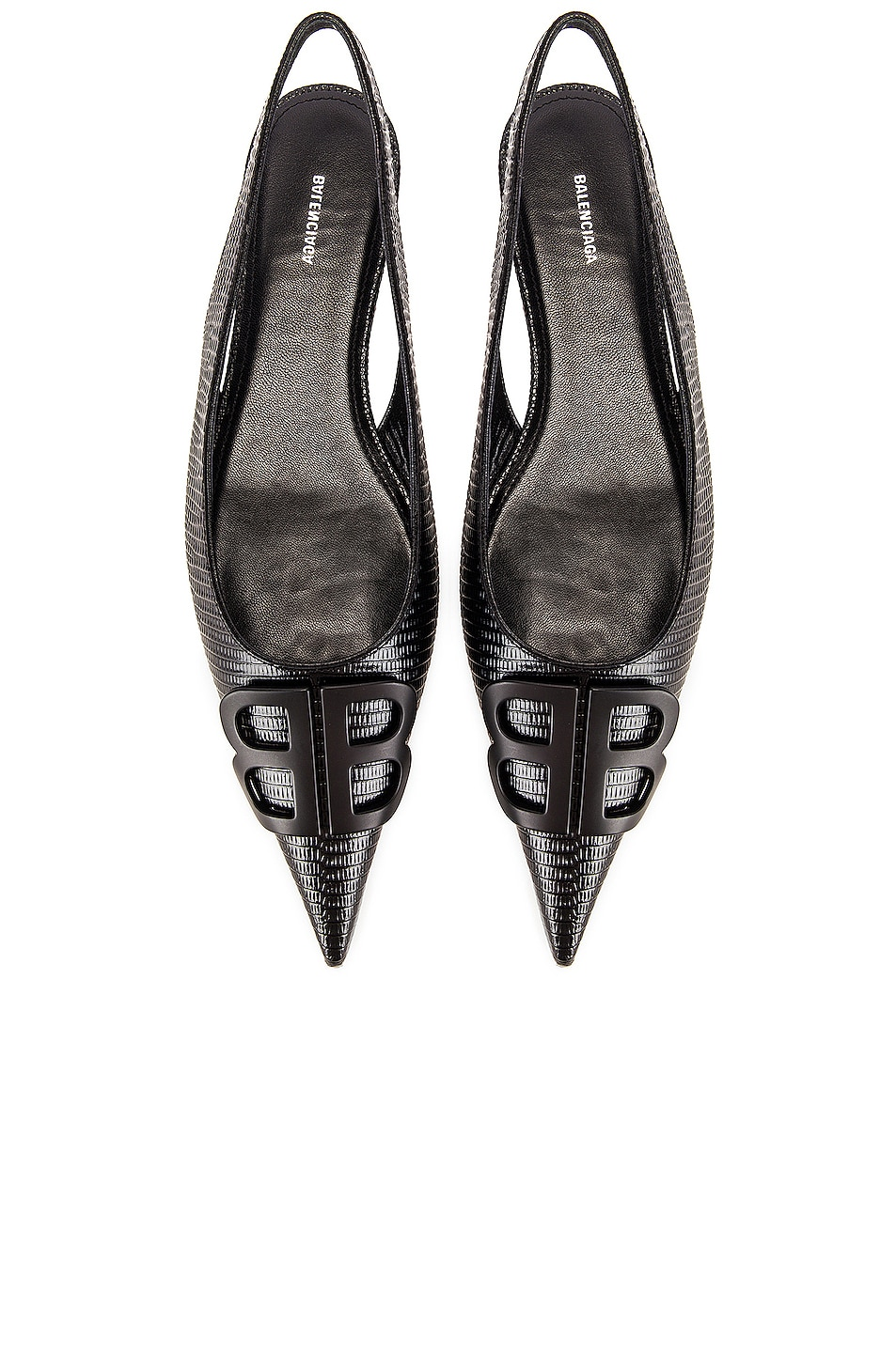Image 1 of Balenciaga BB Slingback Flats in Black & Black