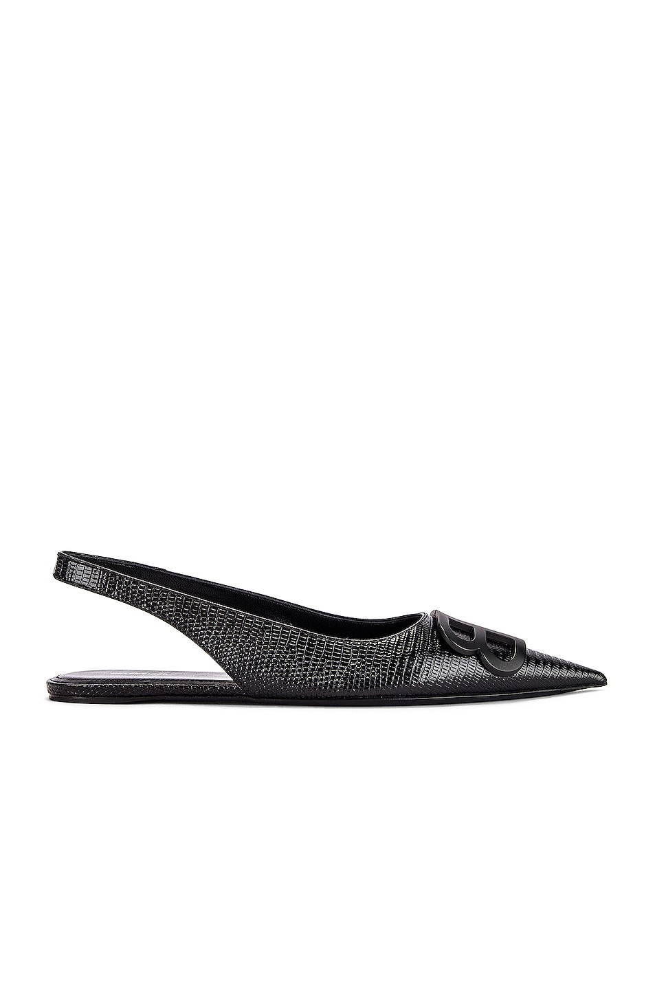 Image 2 of Balenciaga BB Slingback Flats in Black & Black