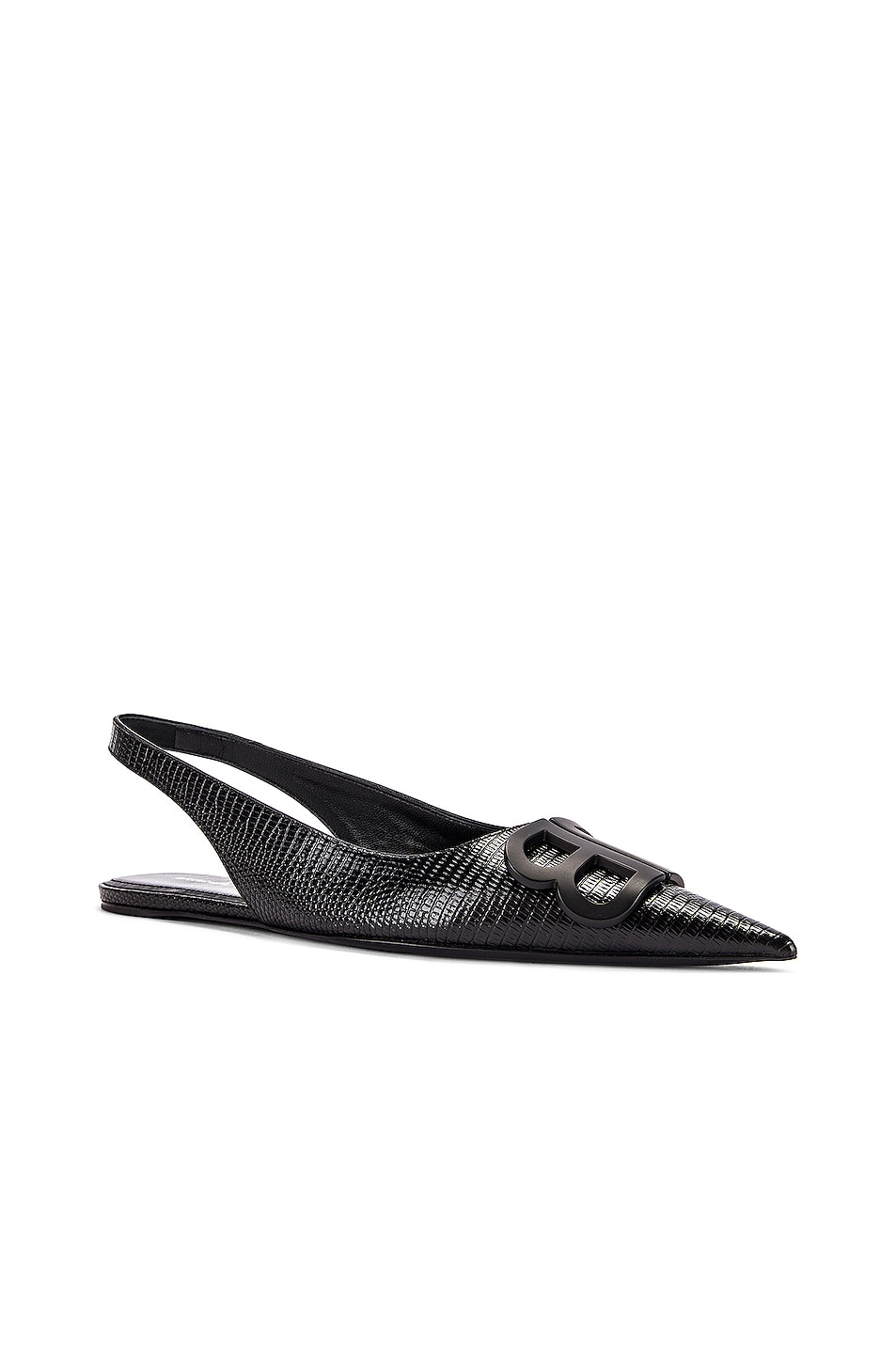 Image 3 of Balenciaga BB Slingback Flats in Black & Black