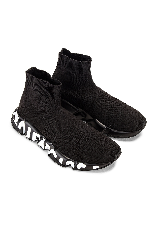 Image 2 of Balenciaga Graffiti Speed Sneakers in Black & White