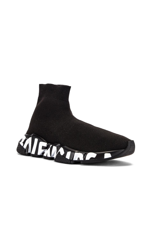 Image 3 of Balenciaga Graffiti Speed Sneakers in Black & White
