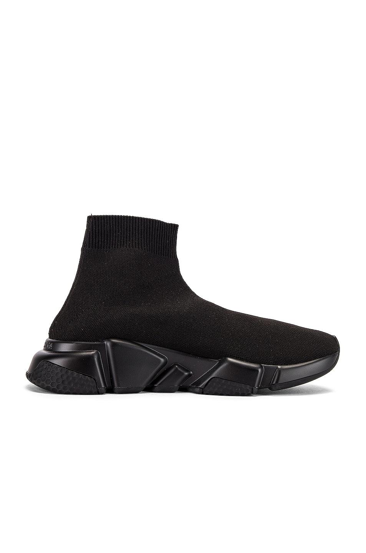 Image 7 of Balenciaga Graffiti Speed Sneakers in Black & White