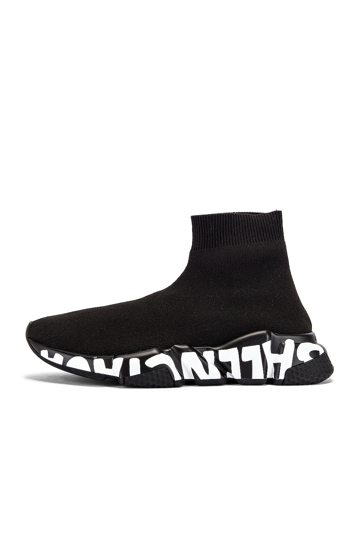 Image 8 of Balenciaga Graffiti Speed Sneakers in Black & White