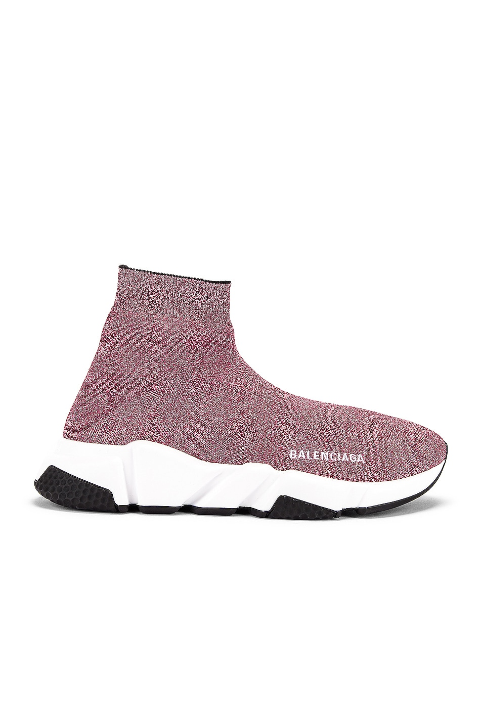 Image 1 of Balenciaga Bicolor Speed Sneakers in Pink & White & Black