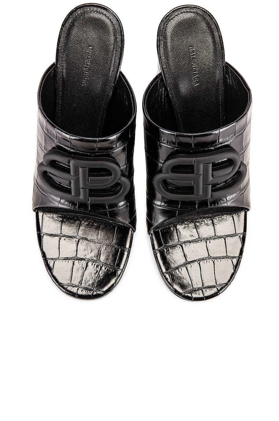 Image 1 of Balenciaga Croc Oval BB Sandals in Black & Black