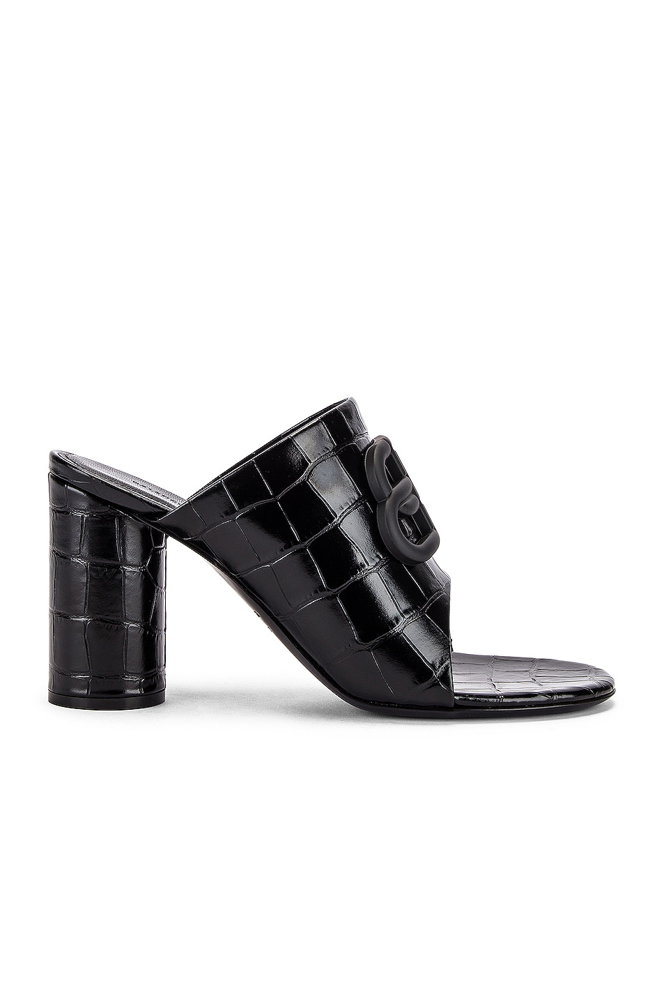 Image 2 of Balenciaga Croc Oval BB Sandals in Black & Black