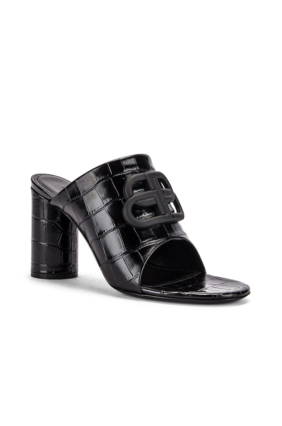 Image 3 of Balenciaga Croc Oval BB Sandals in Black & Black
