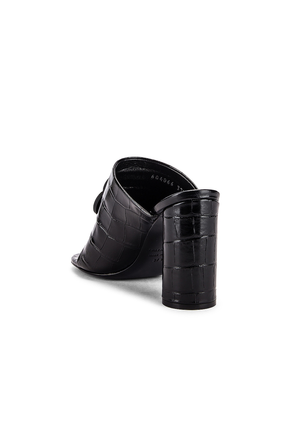 Image 4 of Balenciaga Croc Oval BB Sandals in Black & Black