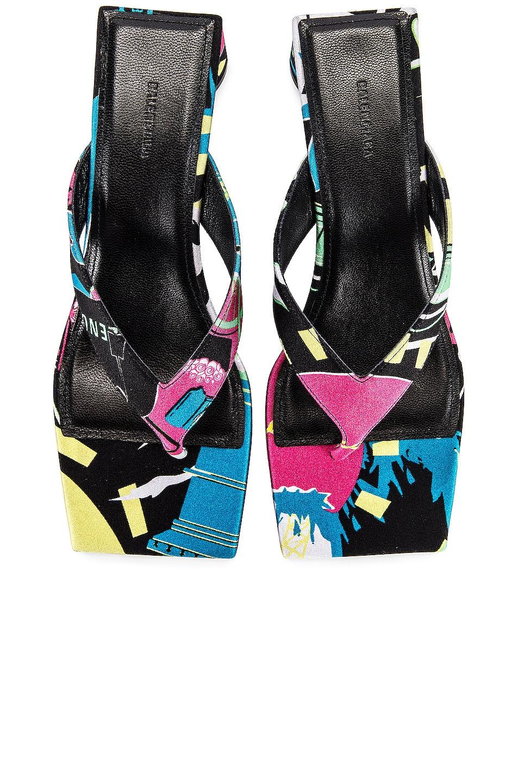 Image 1 of Balenciaga Paris Double Square Sandals in Black & Pink & Blue
