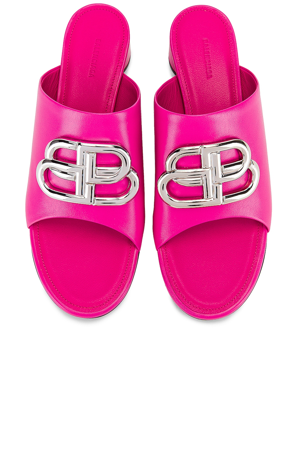 Image 1 of Balenciaga Oval BB Sandals in Pink & Nickel