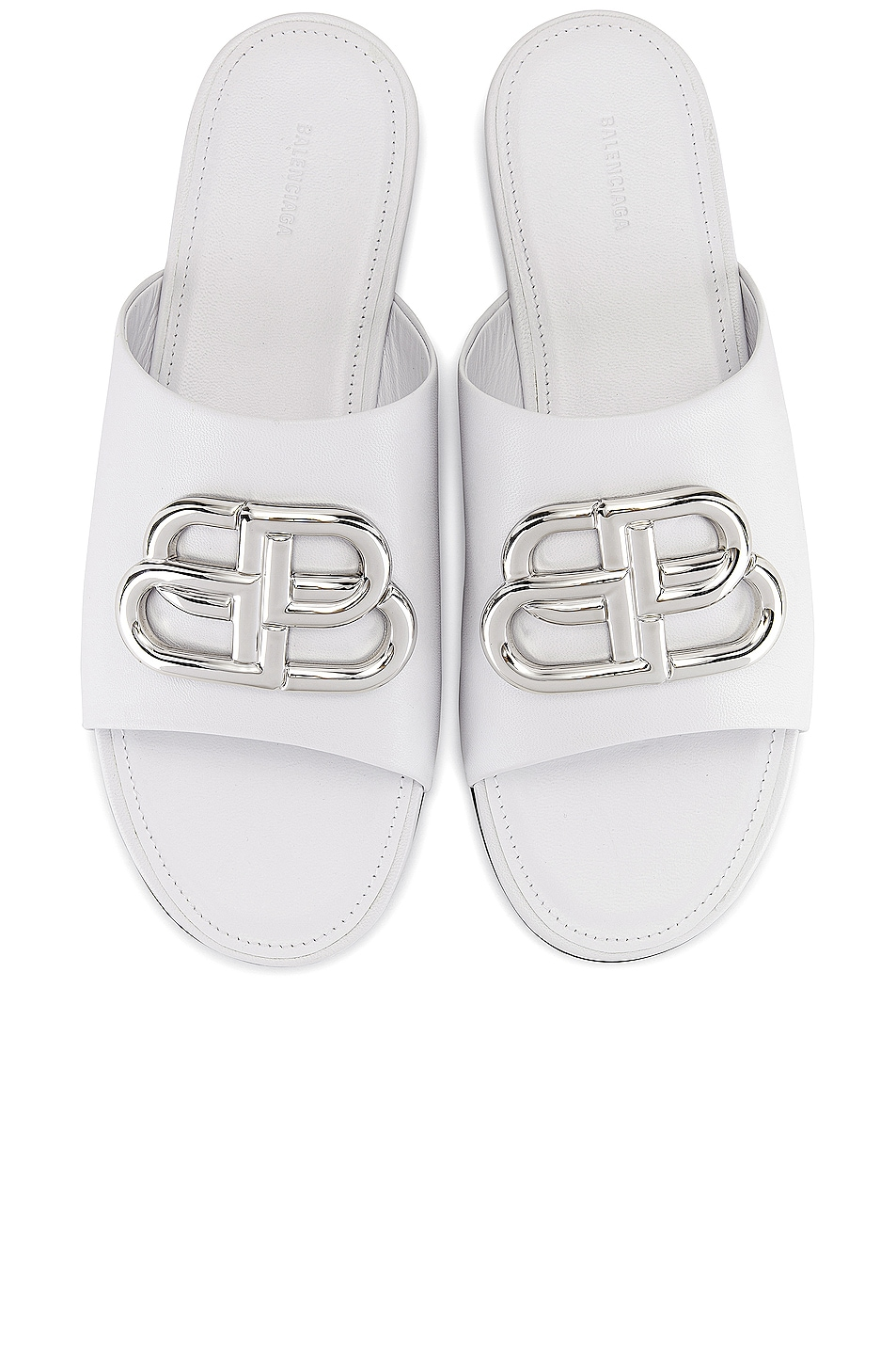 Image 1 of Balenciaga Oval BB Slides in White & Silver