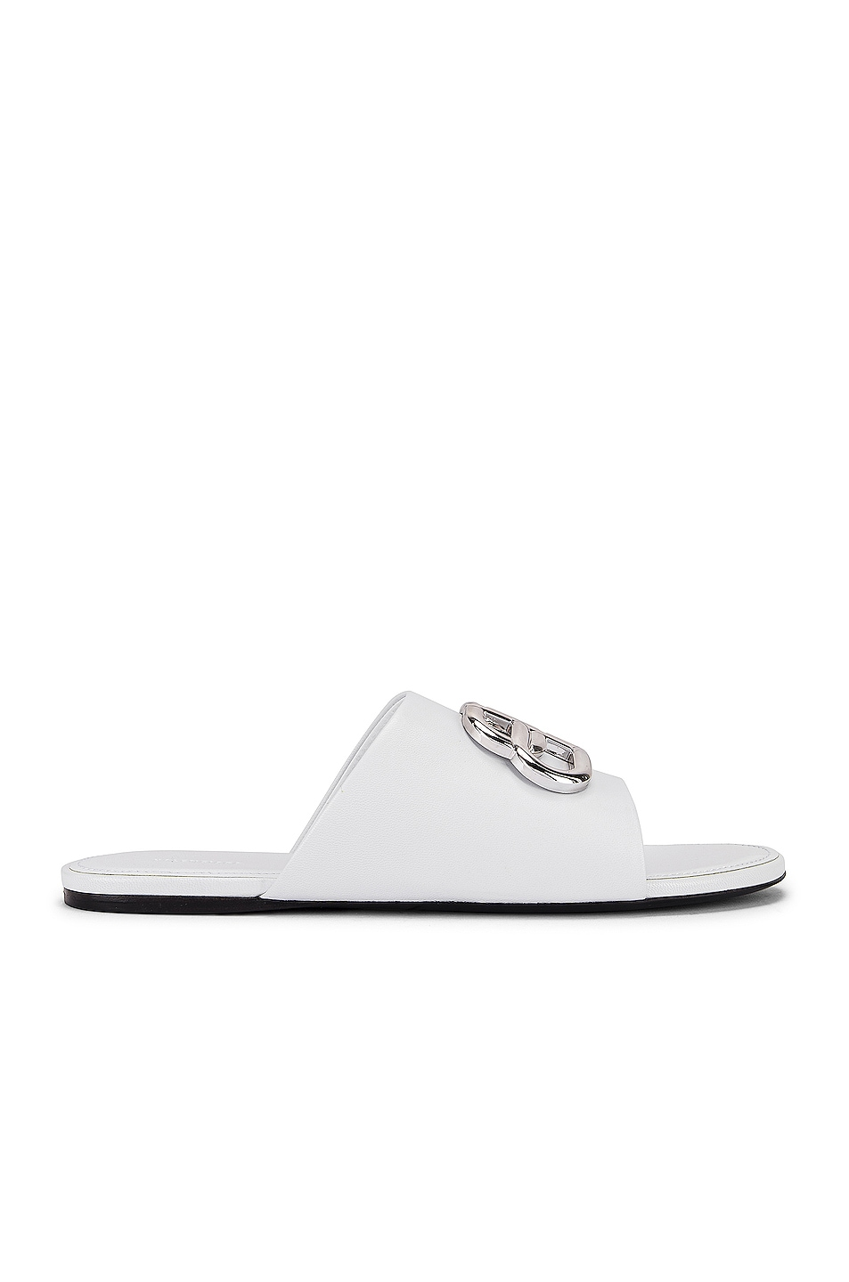 Image 2 of Balenciaga Oval BB Slides in White & Silver