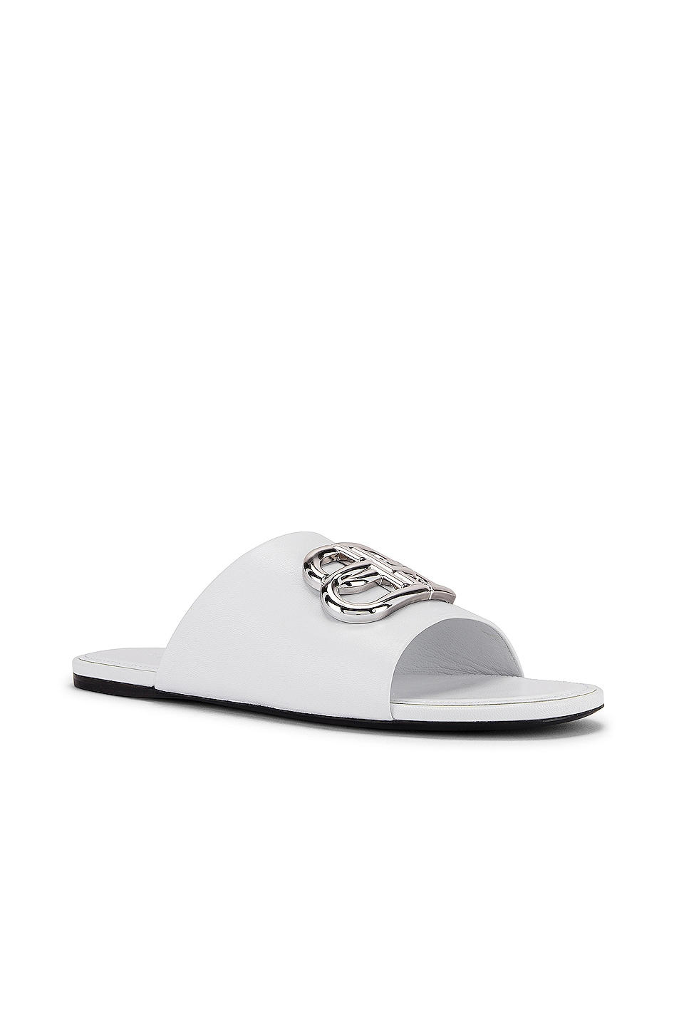 Image 3 of Balenciaga Oval BB Slides in White & Silver