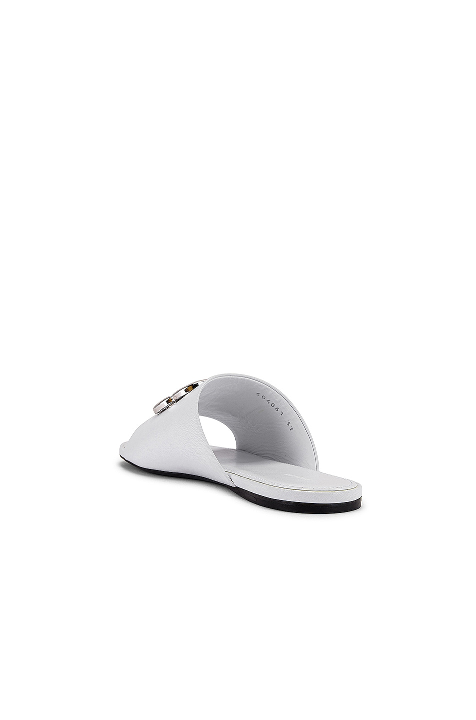 Image 4 of Balenciaga Oval BB Slides in White & Silver