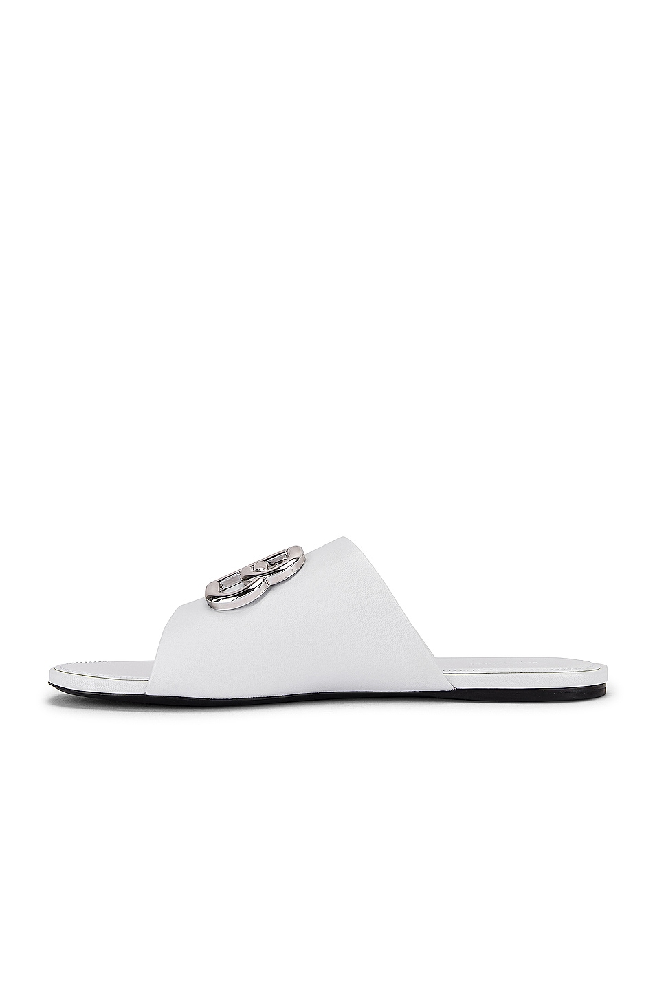 Image 5 of Balenciaga Oval BB Slides in White & Silver