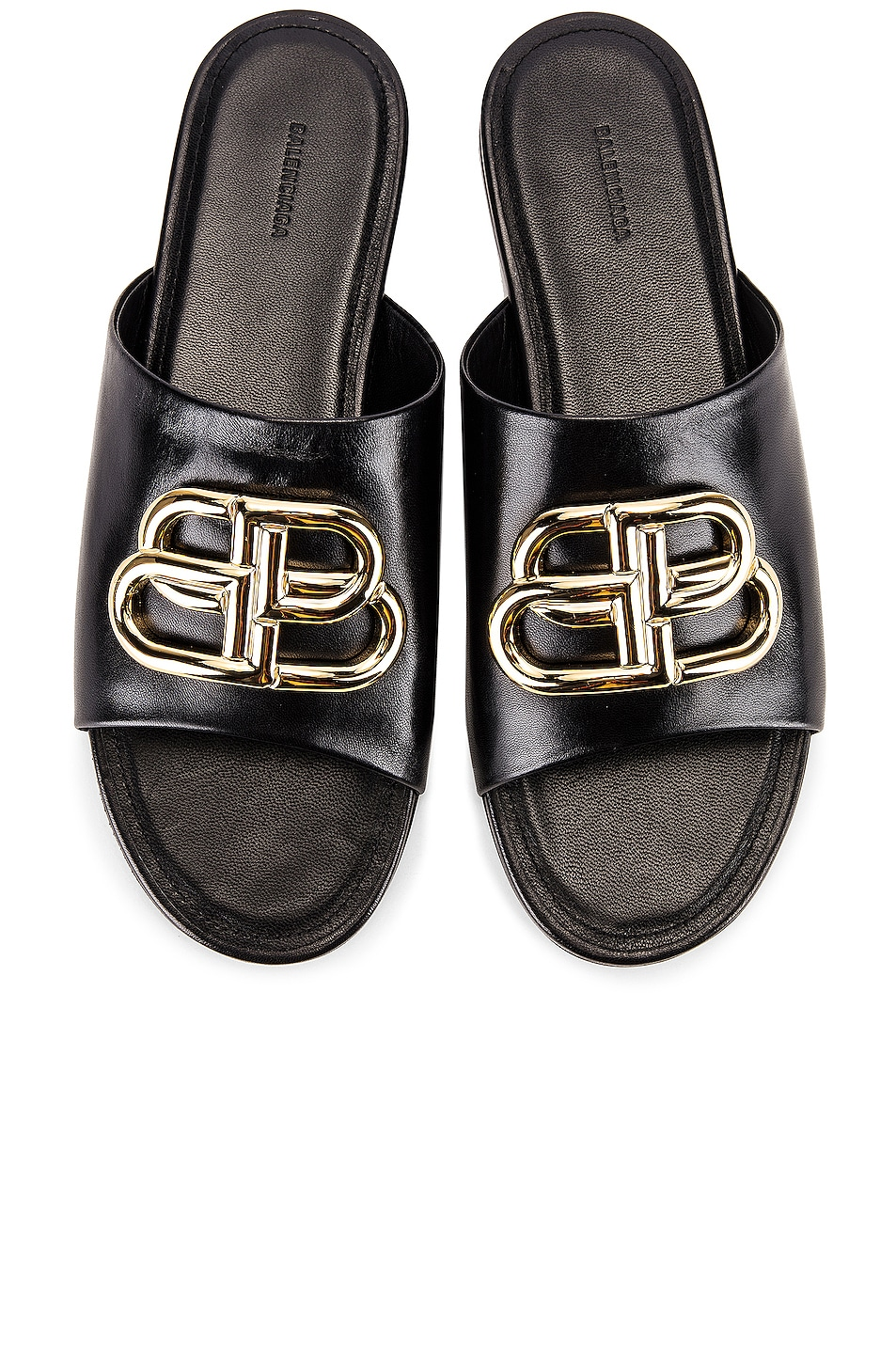Image 1 of Balenciaga Ovall BB Slides in Black & Gold