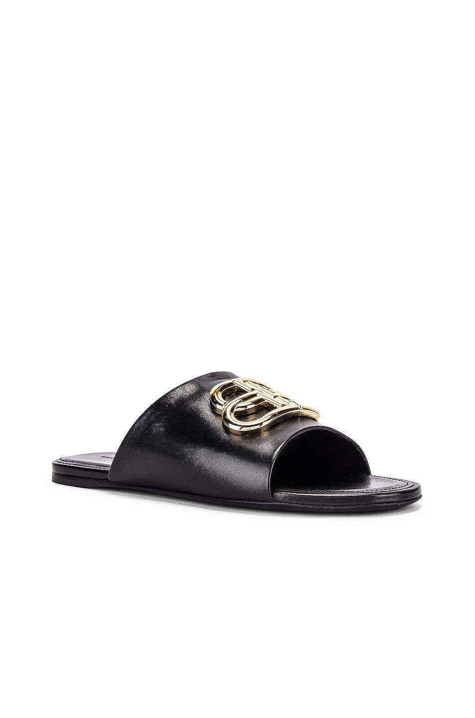 Image 3 of Balenciaga Ovall BB Slides in Black & Gold