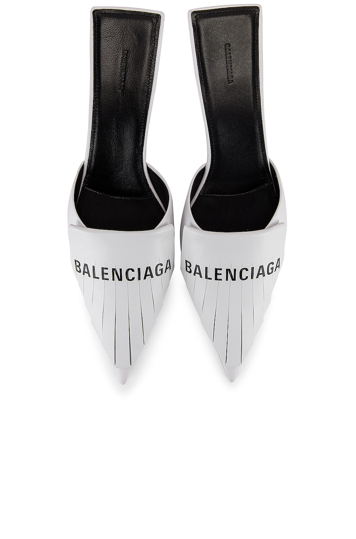 Image 1 of Balenciaga Logo Fringe Knife Kitten Heel Mules in White & Black