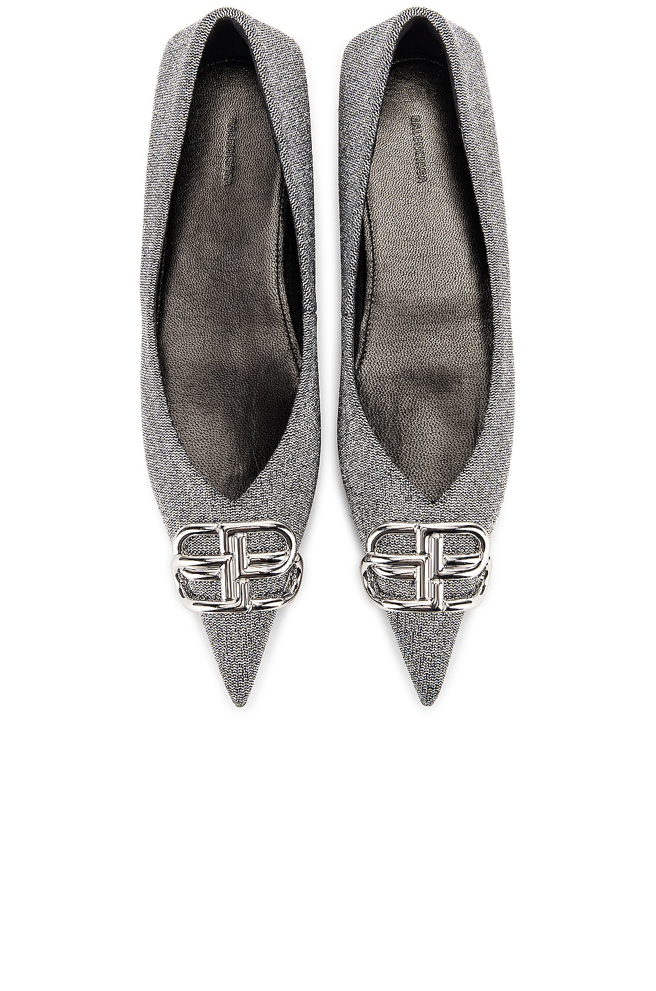 Image 1 of Balenciaga BB Square Knife Ballerina Flats in Silver & Silver