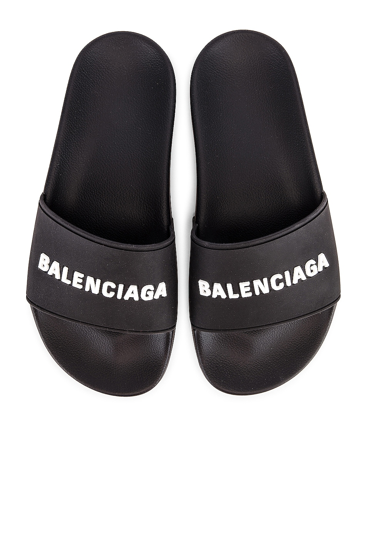 Image 1 of Balenciaga Rubber Logo Pool Slides in Black & White