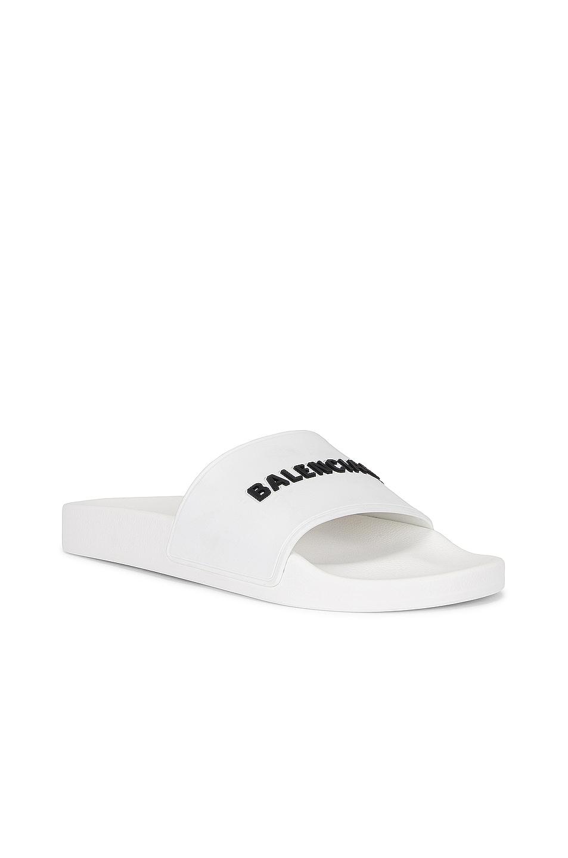 Image 3 of Balenciaga Rubber Logo Pool Slides in White & Black