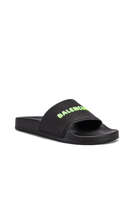 Image 3 of Balenciaga Rubber Logo Pool Slides in Black & Fluo Green