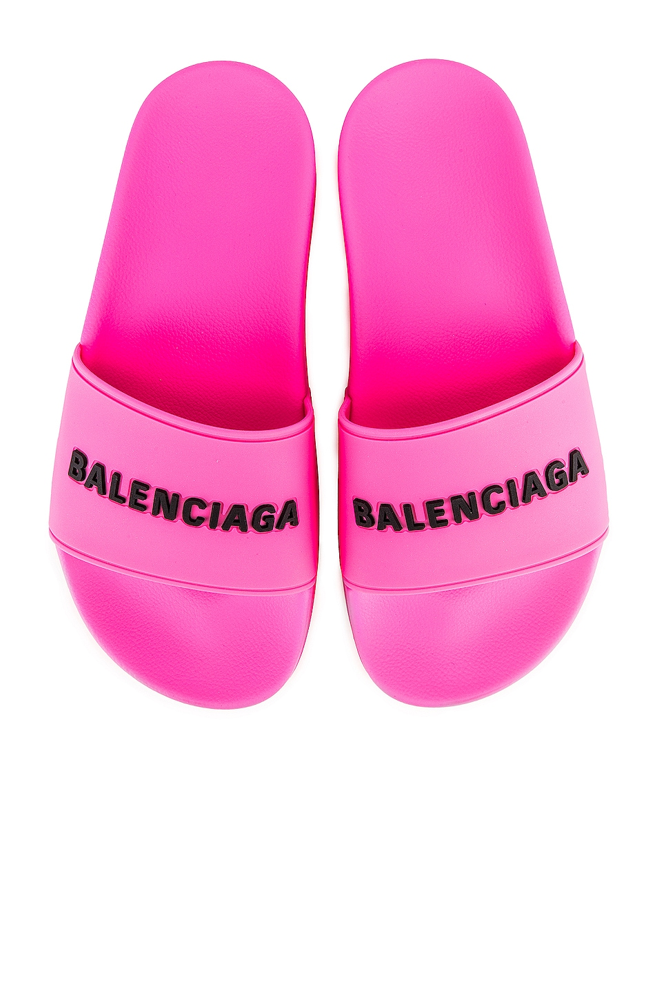 Image 1 of Balenciaga Rubber Logo Pool Slides in Neon Pink & Black