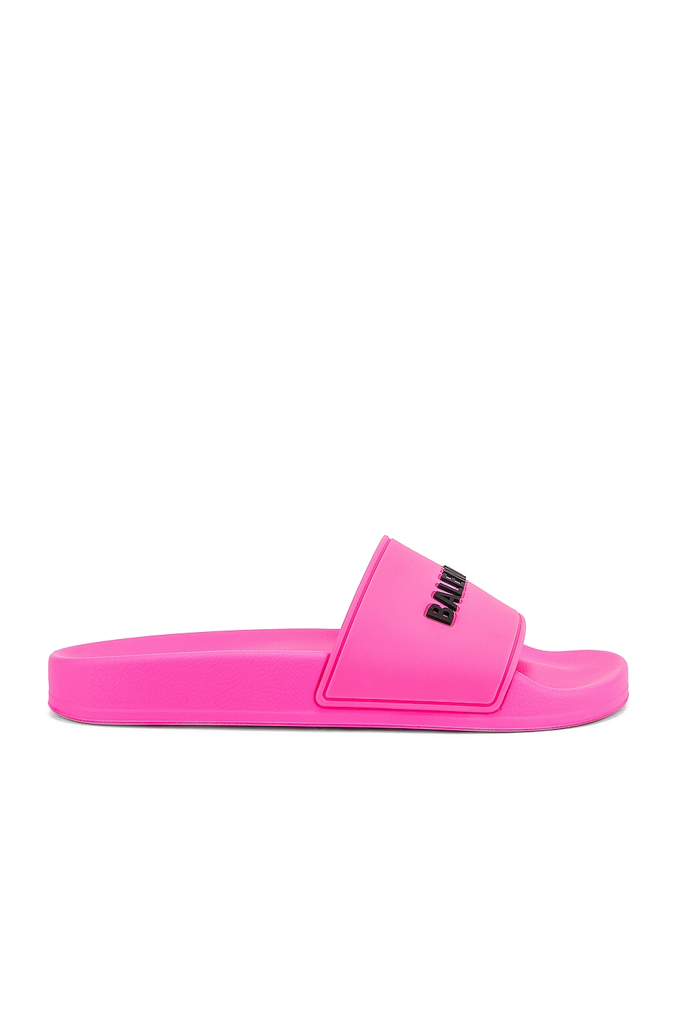 Image 2 of Balenciaga Rubber Logo Pool Slides in Neon Pink & Black