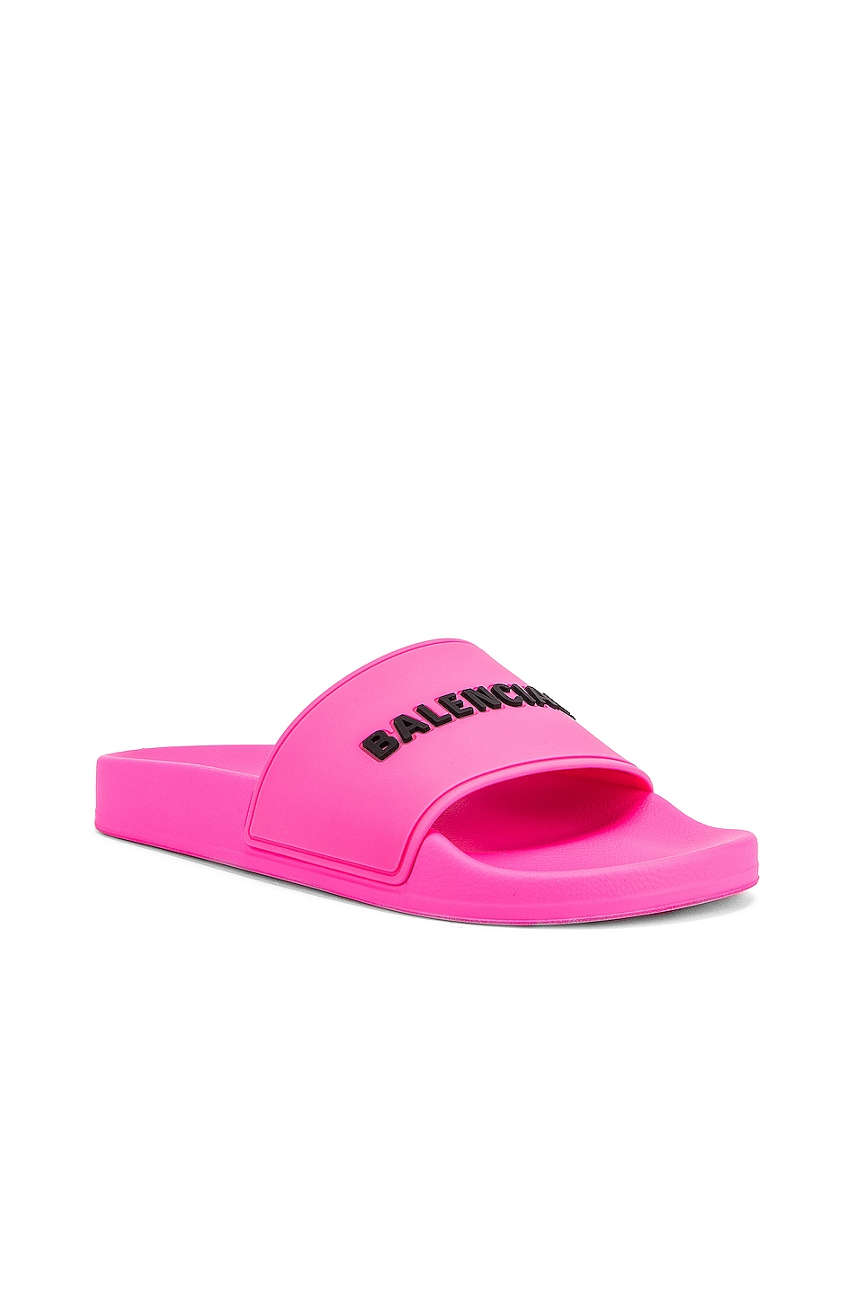 Image 3 of Balenciaga Rubber Logo Pool Slides in Neon Pink & Black