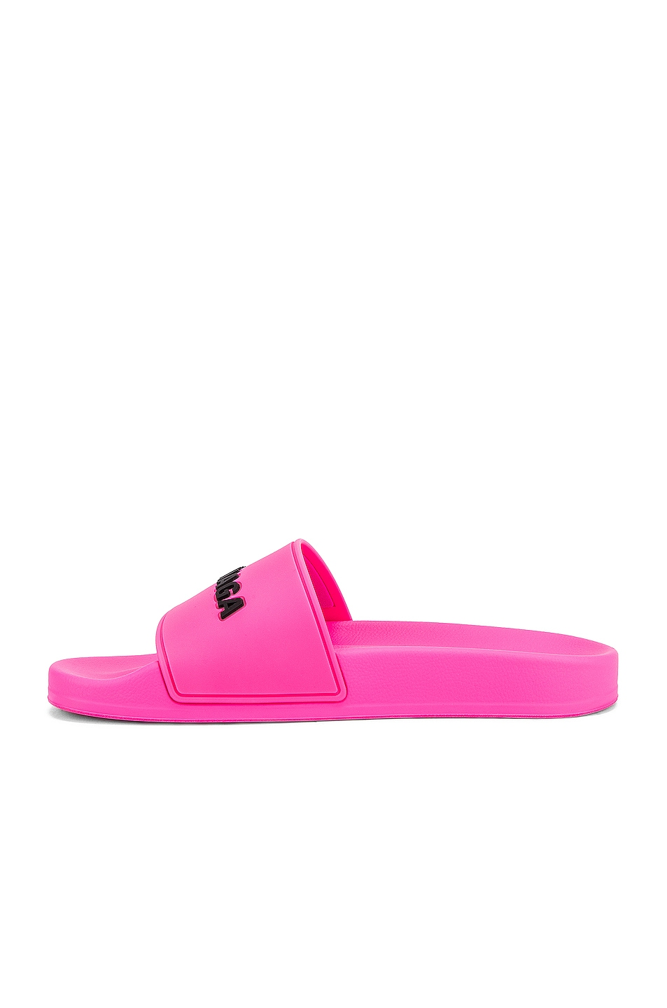 Image 5 of Balenciaga Rubber Logo Pool Slides in Neon Pink & Black