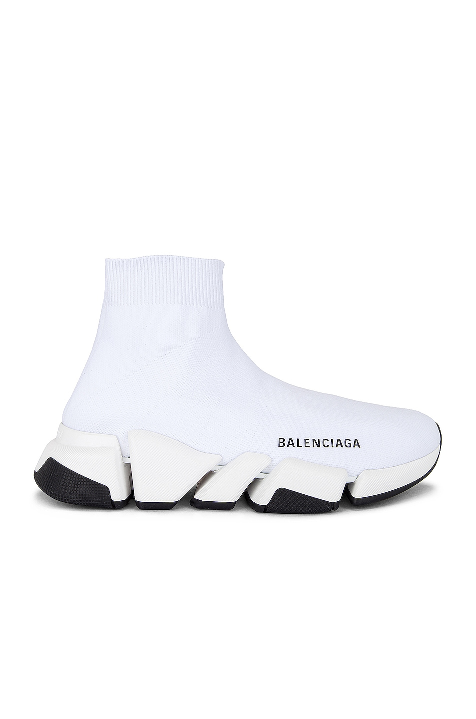 Image 1 of Balenciaga Speed 2 Low Top Sneakers in White & White & Black