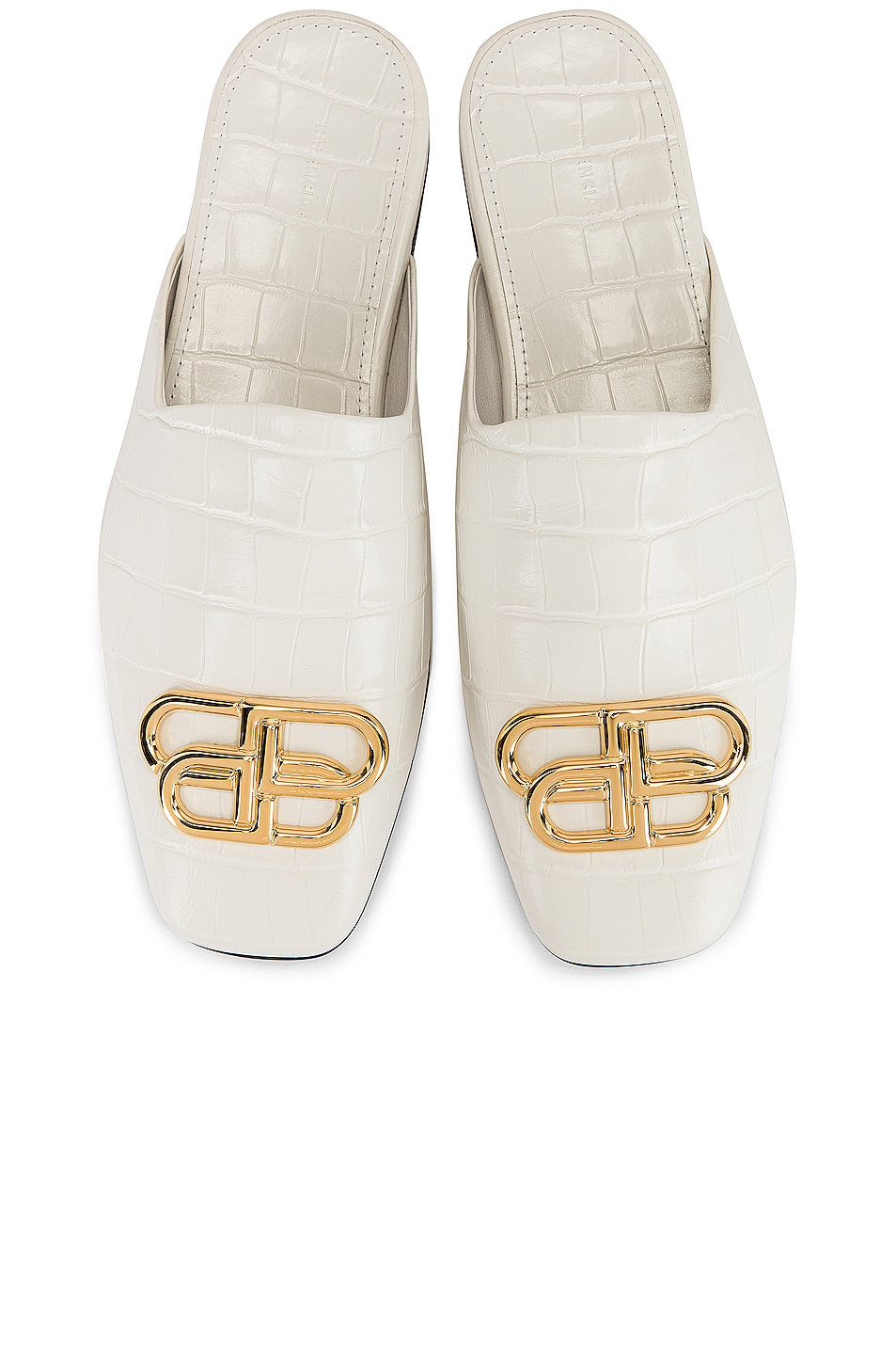 Image 1 of Balenciaga Cosy BB Mules in White & Gold