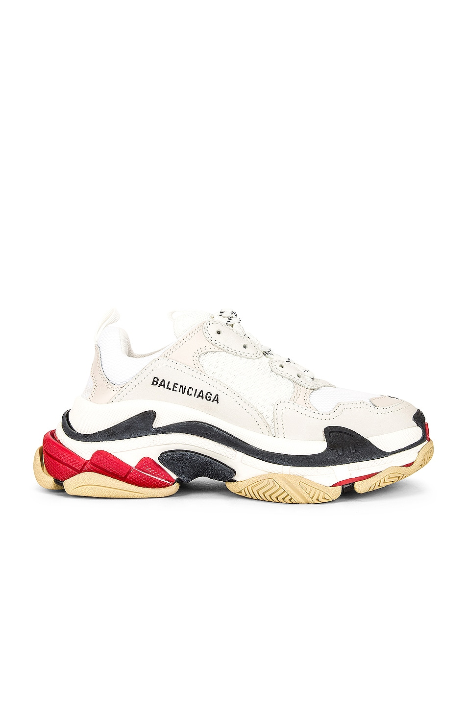 Image 1 of Balenciaga Triple S Sneakers in White & White & Red