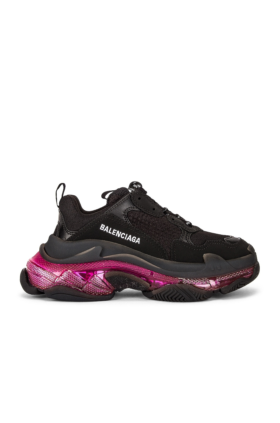 Image 1 of Balenciaga Triple S Clear Sole Sneakers in Black & Pink Neon