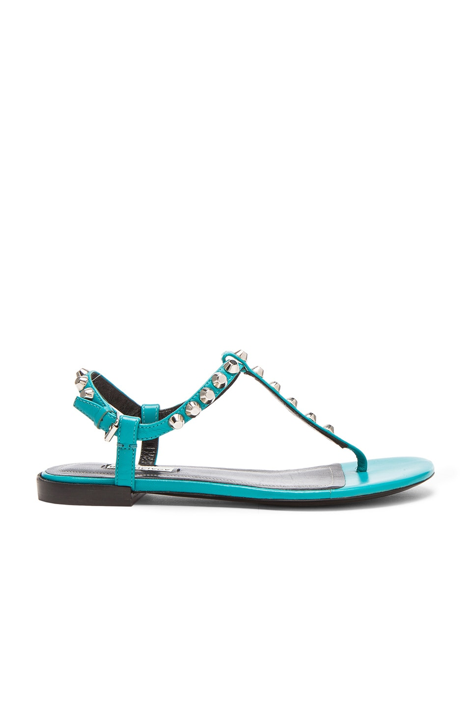Image 1 of Balenciaga Giant Stud T Strap Leather Sandals in Caribbean Blue