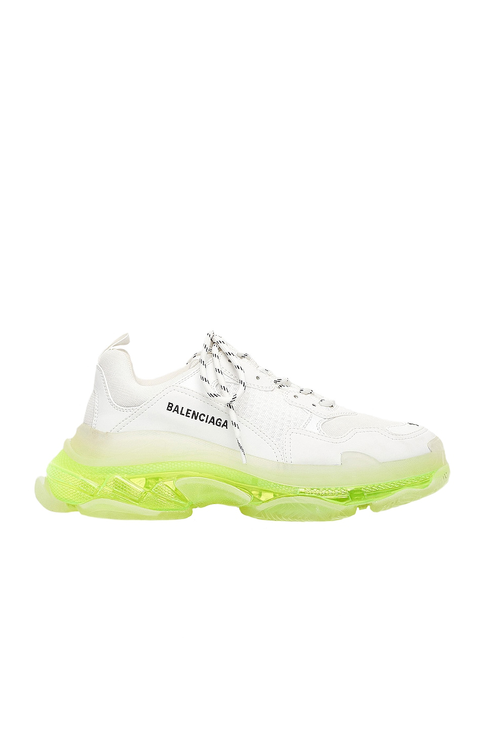 Image 1 of Balenciaga Triple S Clear Sole Sneakers in White & Fluo Yellow