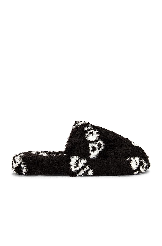 Image 1 of Balenciaga Home Fleece Slippers in Black & White