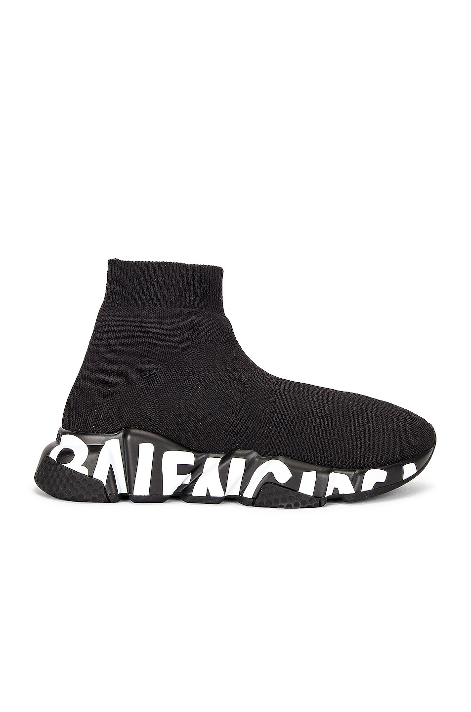 Image 1 of Balenciaga Speed Lt Graffiti Sneakers in Black & Black & White