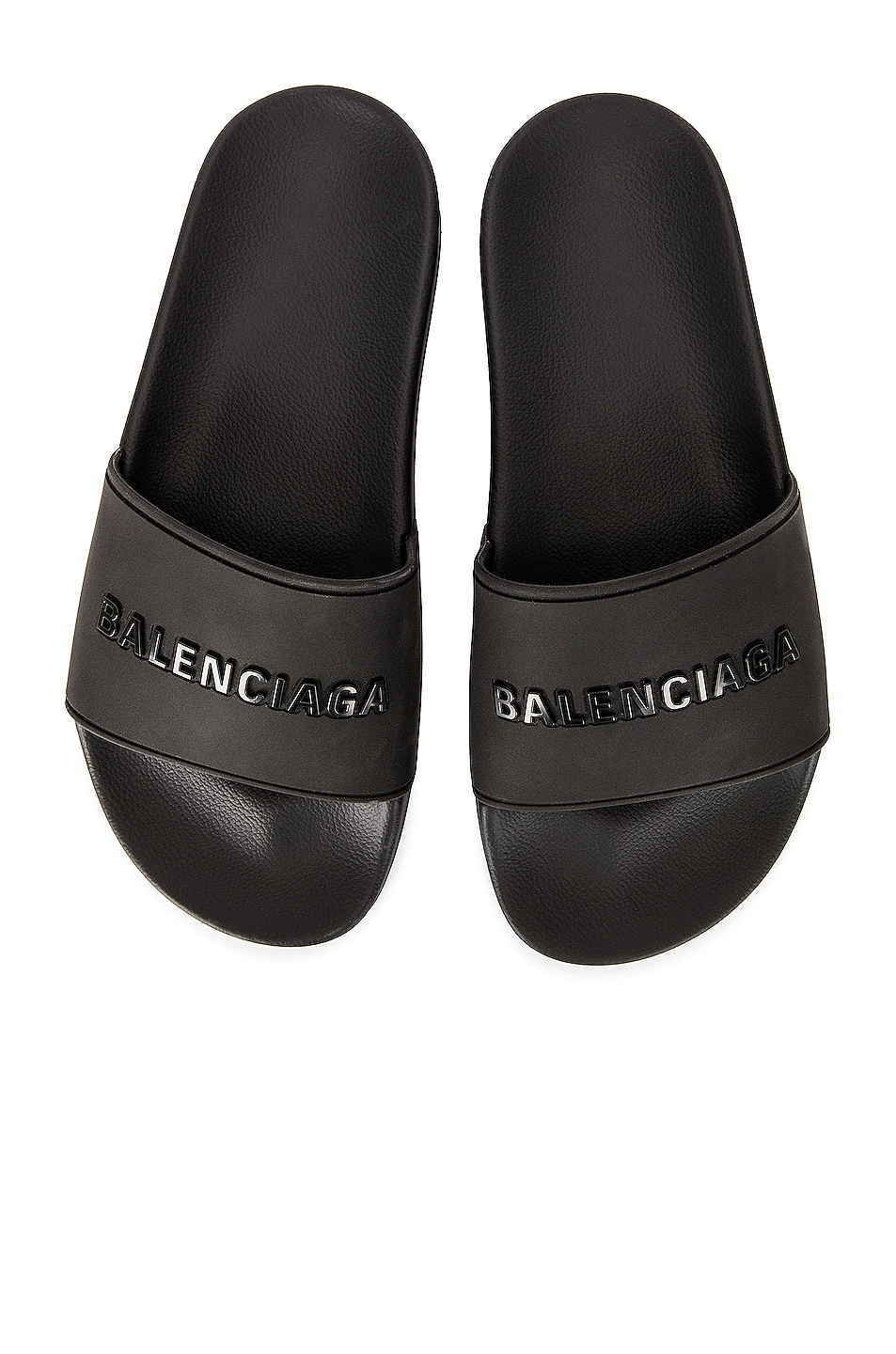 Image 1 of Balenciaga Rubber Logo Pool Slides in Black