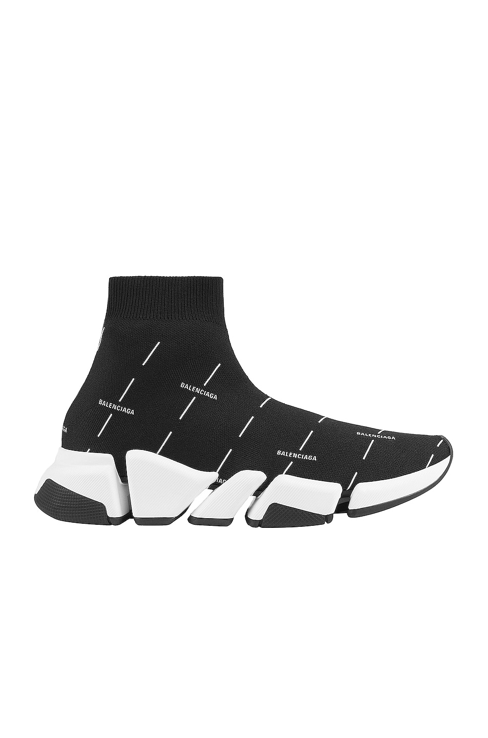 Image 1 of Balenciaga 2.0 Speed Sneakers in Black & White