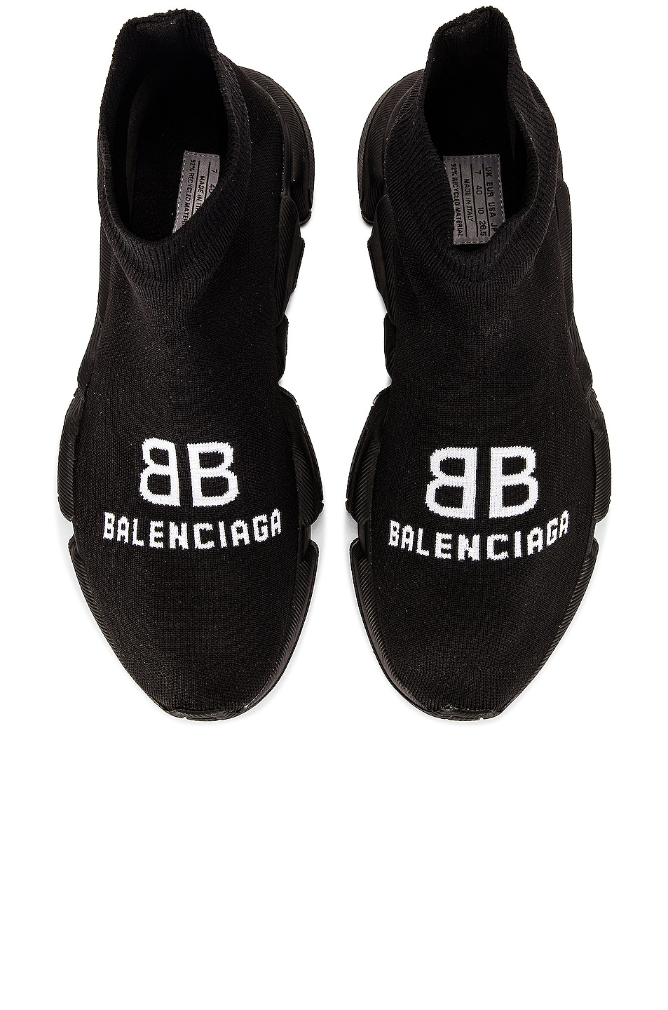 Image 1 of Balenciaga Recycle Speed Sneakers in Black & White & Black