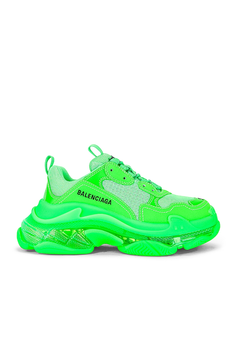 Image 1 of Balenciaga Triple S Clear Sole Sneakers in Fluo Green