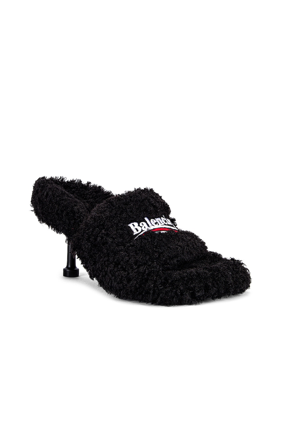 Image 1 of Balenciaga Furry Sandals in Black & White & Red