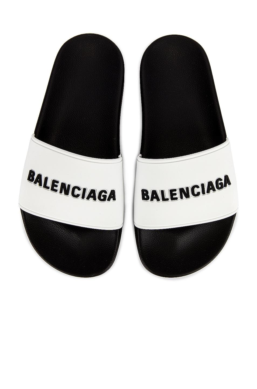 Image 1 of Balenciaga Rubber Logo Pool Slides in White & Black