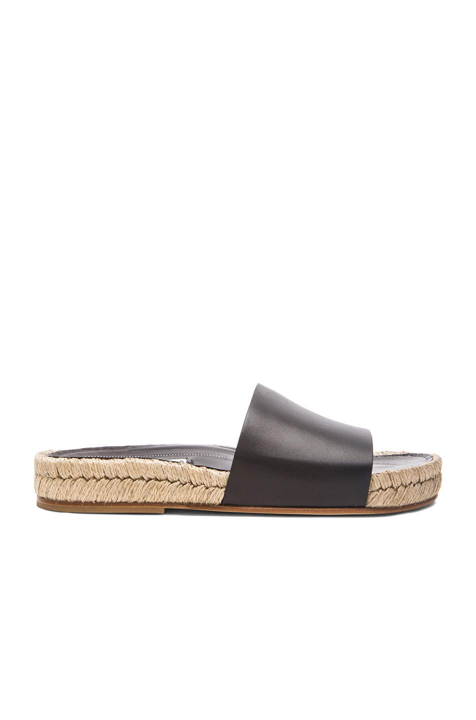 Image 1 of Balenciaga Box Leather Slide Sandals in Black