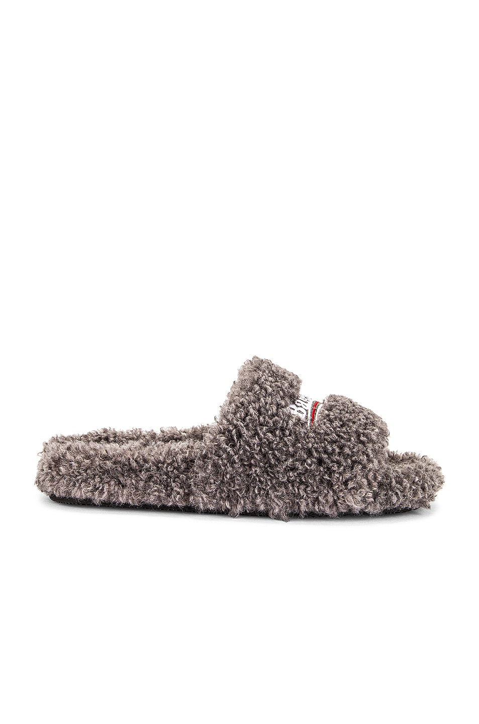 Image 1 of Balenciaga Furry Slides in Grey & White & Red