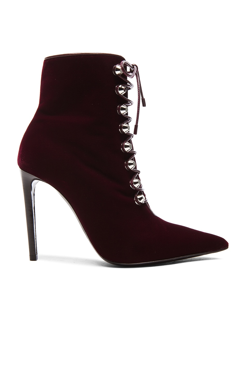 Image 1 of Balenciaga Velour Booties in Burgundy