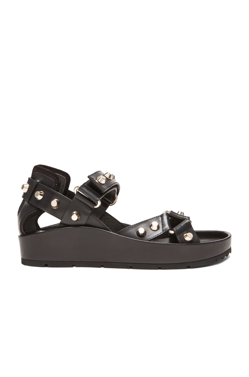 Image 1 of Balenciaga Studded Leather Ankle Strap Sandals in Black