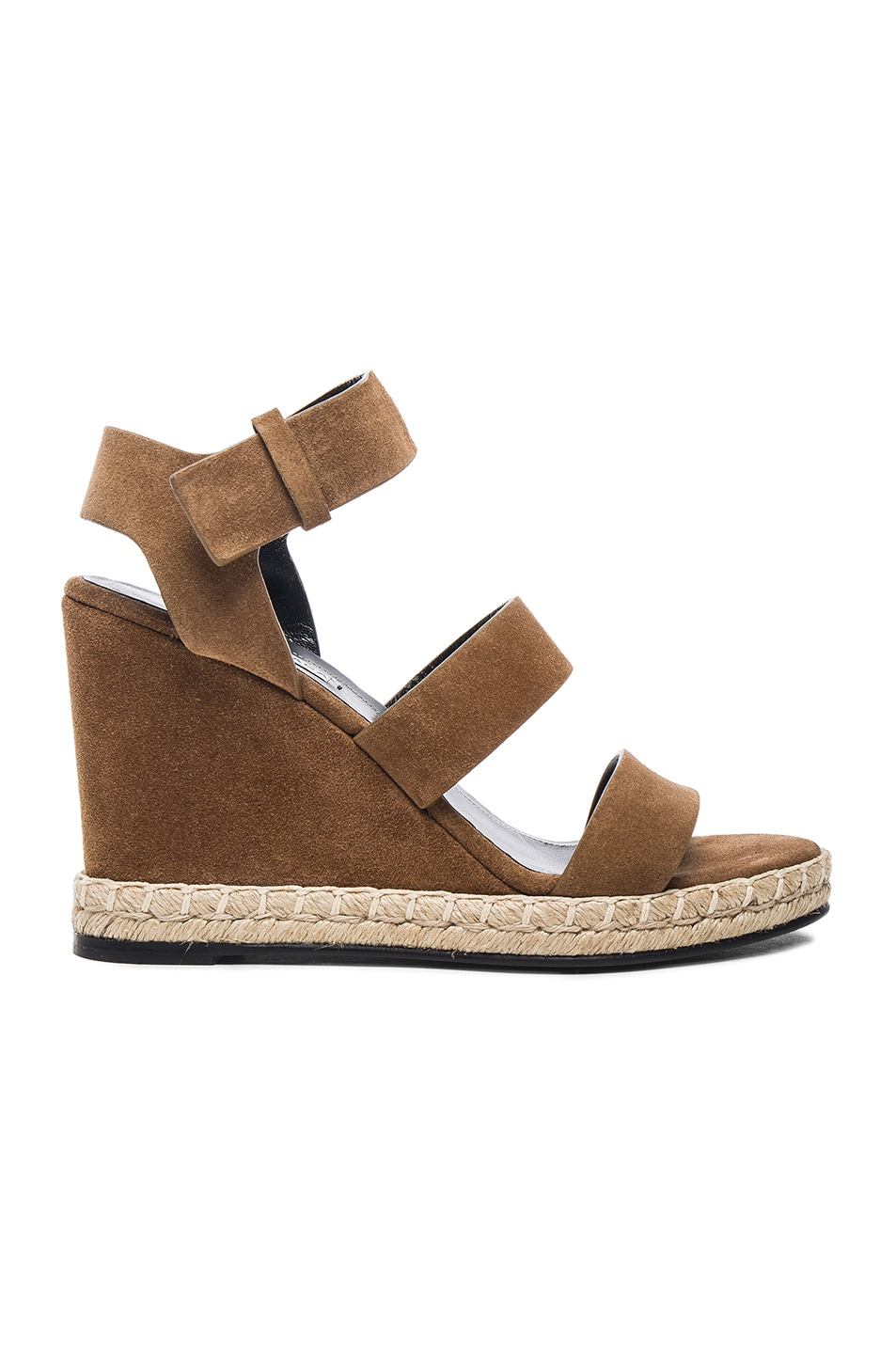 Image 1 of Balenciaga Suede Wedge Sandals in Noisette