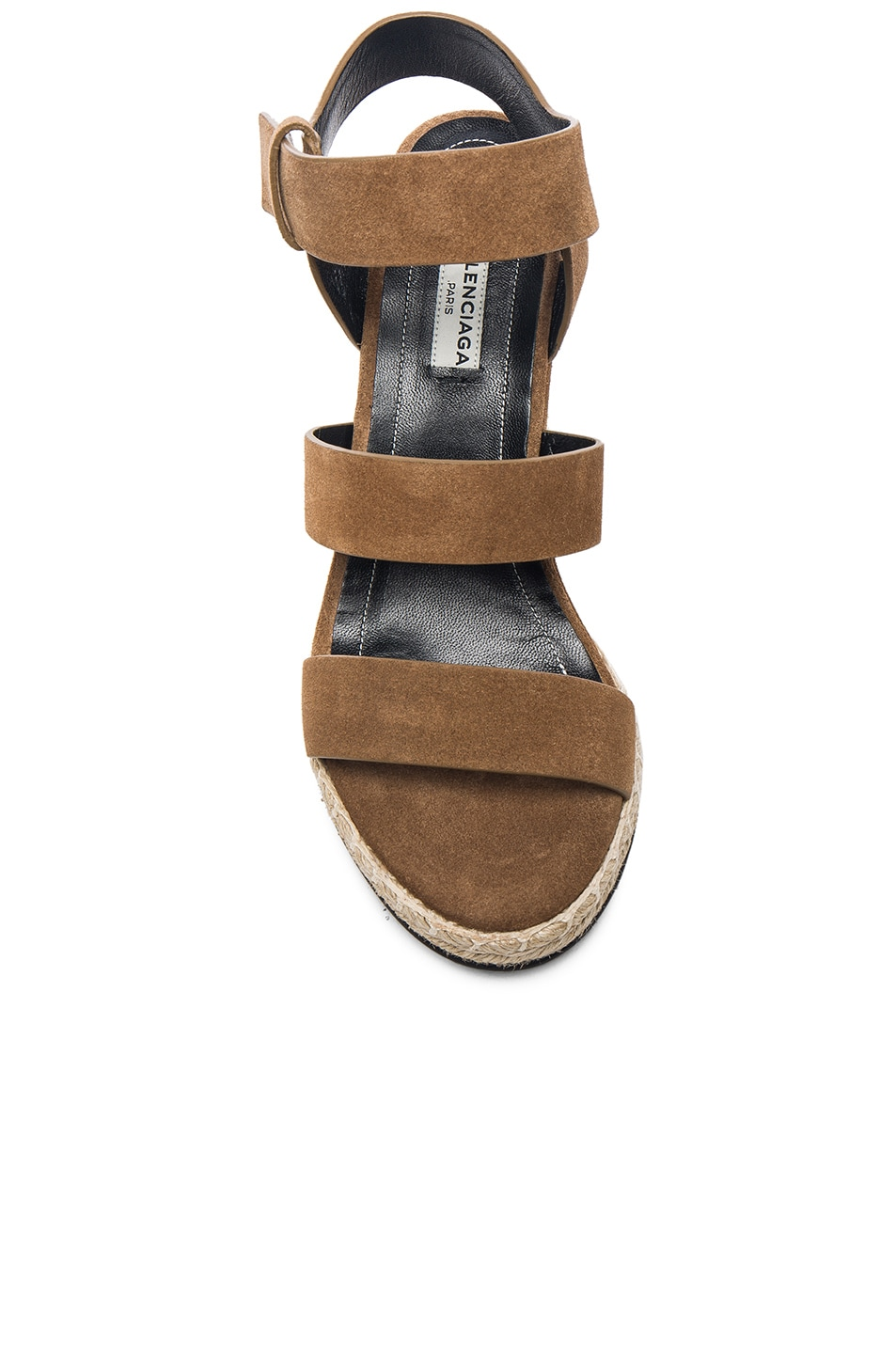 Image 4 of Balenciaga Suede Wedge Sandals in Noisette